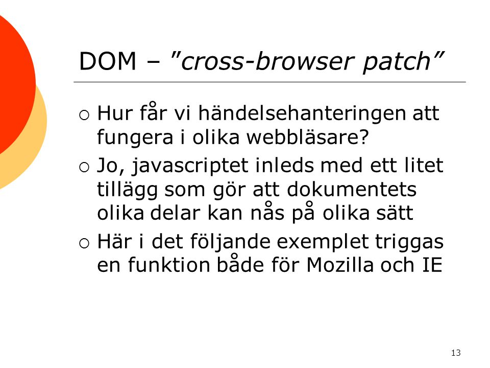 DOM – cross-browser patch