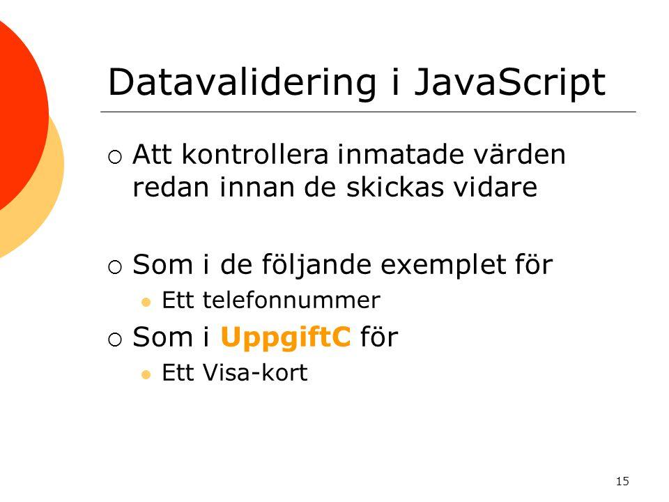 Datavalidering i JavaScript