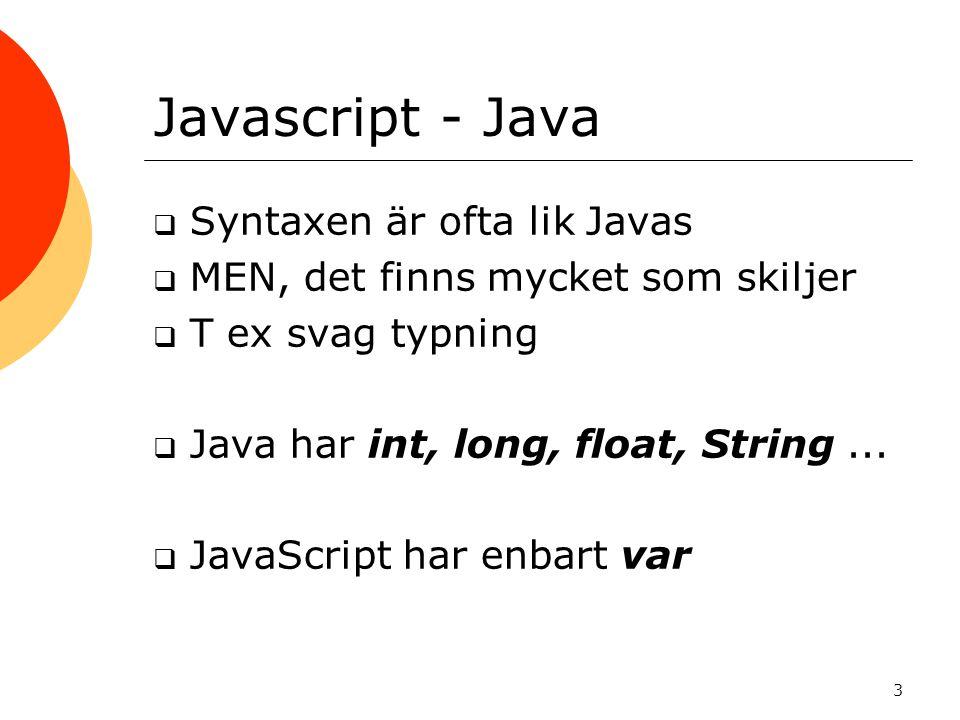 Javascript - Java Syntaxen är ofta lik Javas
