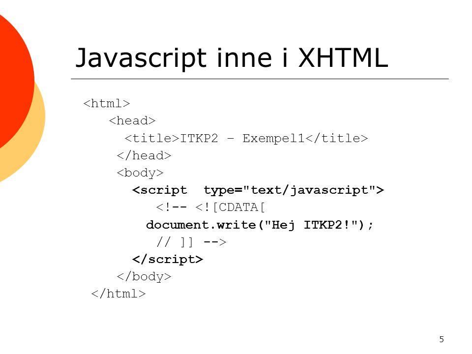 Javascript inne i XHTML