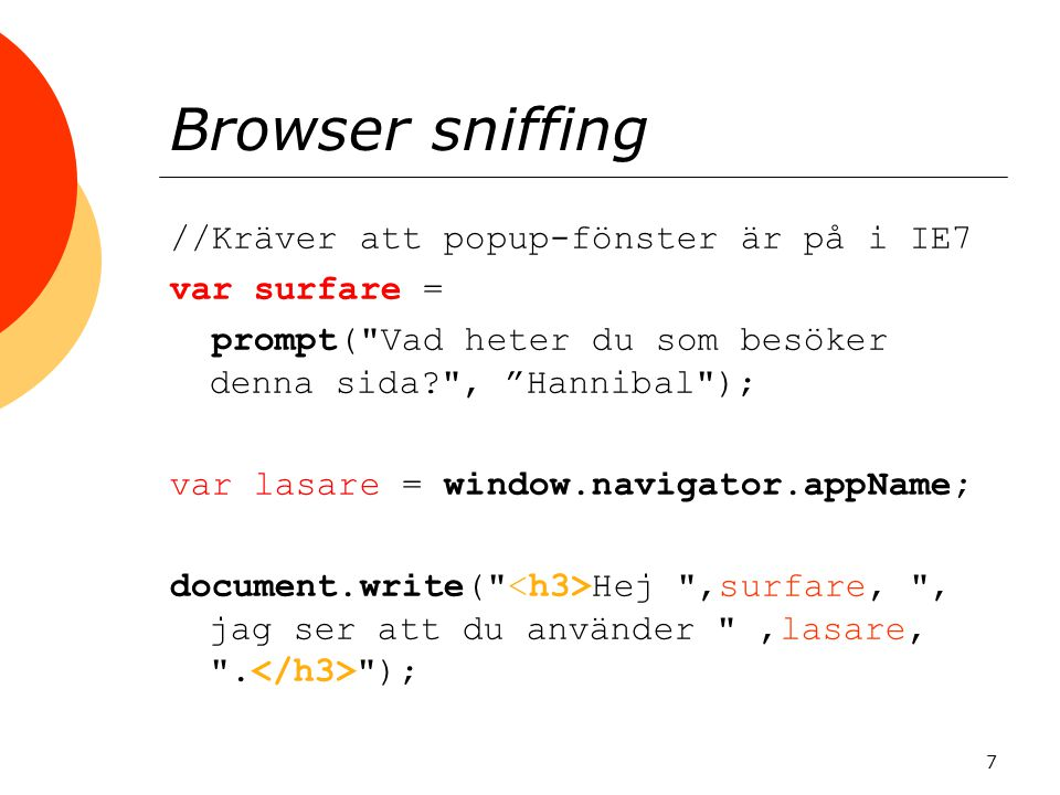 Browser sniffing