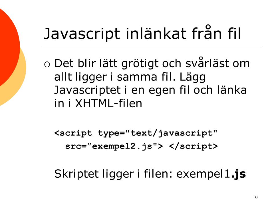 Javascript inlänkat från fil