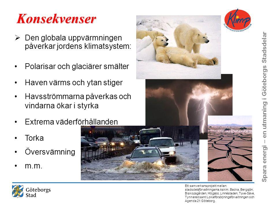 Konsekvenser Den globala uppvärmningen påverkar jordens klimatsystem: