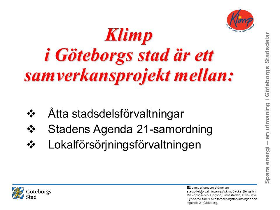 Klimp i Göteborgs stad är ett samverkansprojekt mellan: