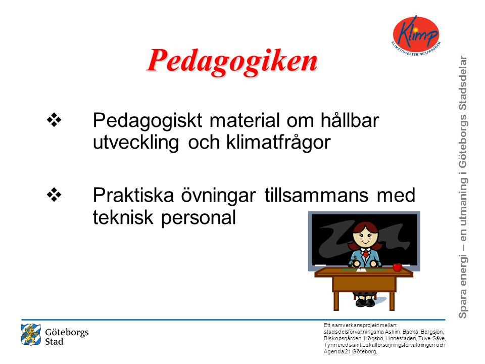 Pedagogiken Pedagogiskt material om hållbar utveckling och klimatfrågor. Praktiska övningar tillsammans med teknisk personal.