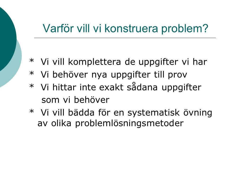 Varför vill vi konstruera problem