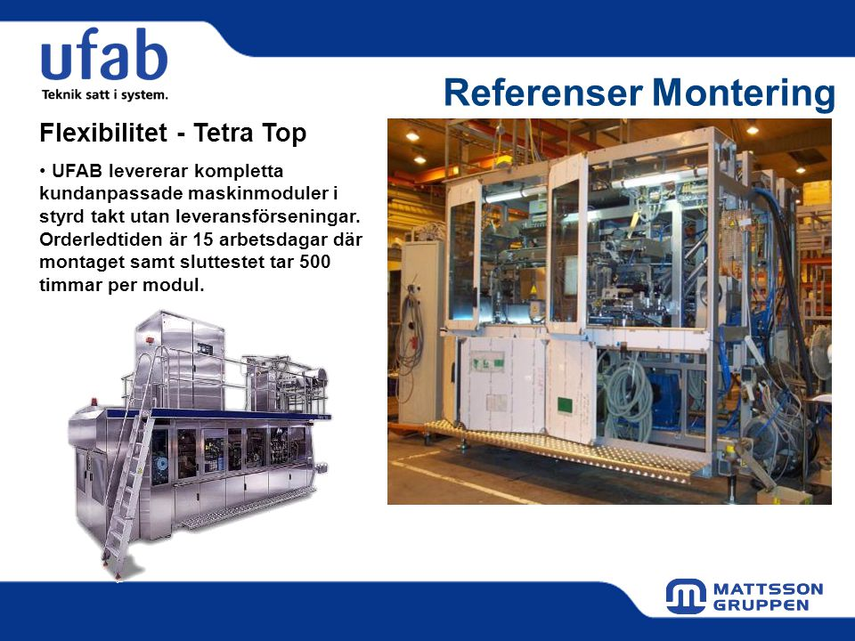 Referenser Montering Flexibilitet - Tetra Top