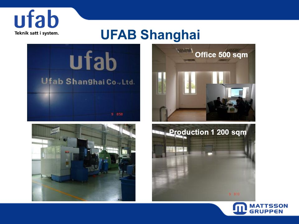 UFAB Shanghai Office 500 sqm Production 1 200 sqm