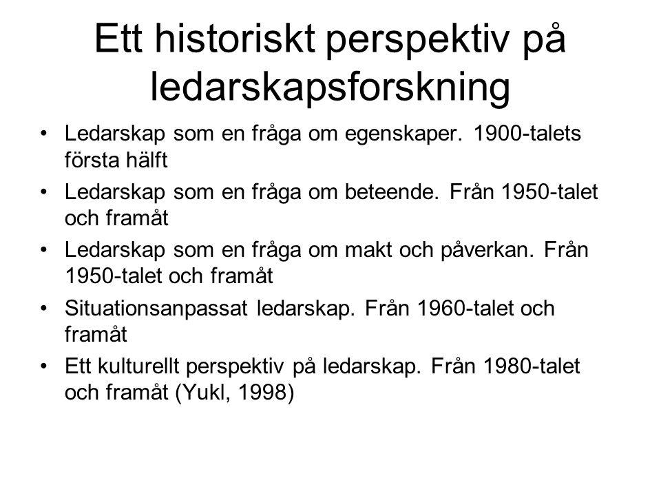 Ett historiskt perspektiv på ledarskapsforskning