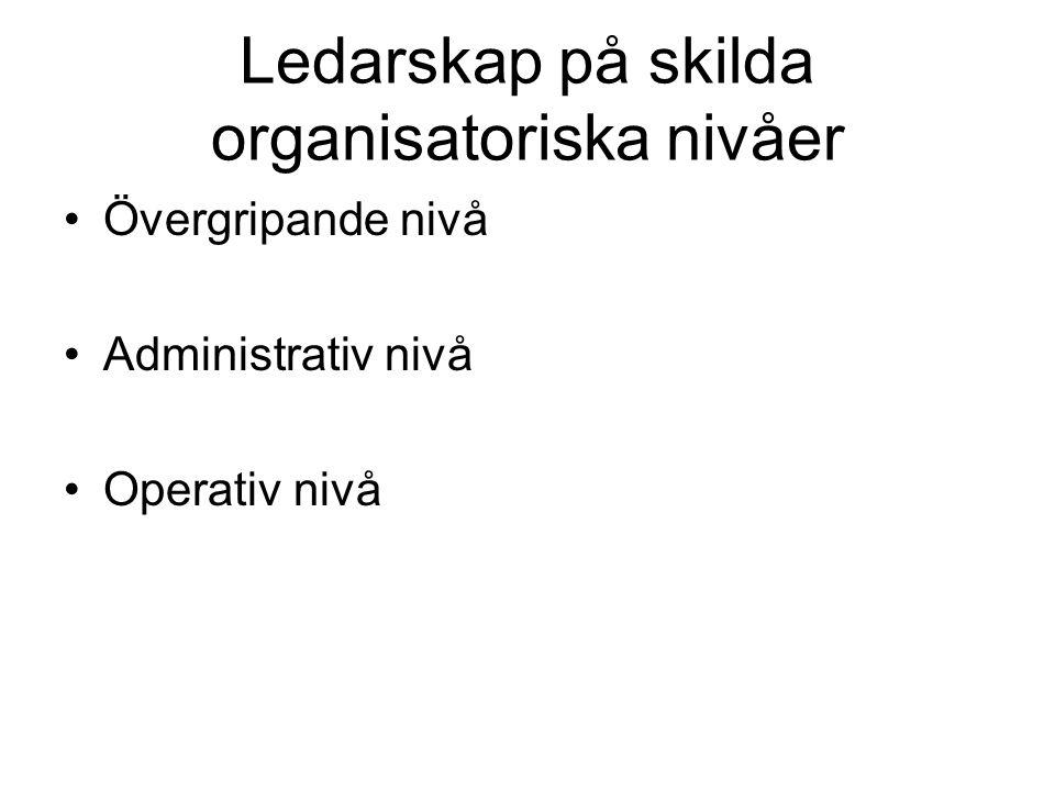 Ledarskap på skilda organisatoriska nivåer