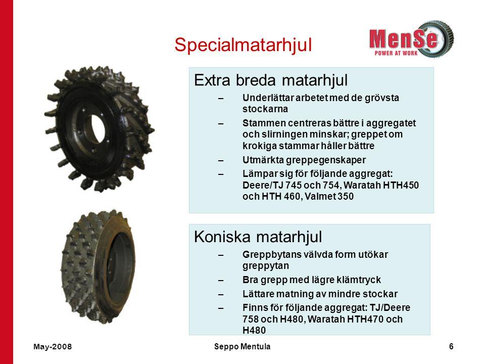 Specialmatarhjul Extra breda matarhjul Koniska matarhjul