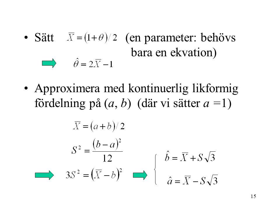 Sätt (en parameter: behövs bara en ekvation)