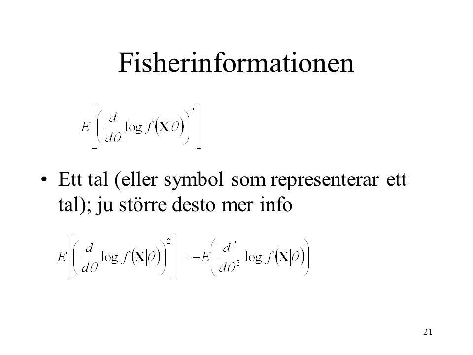 Fisherinformationen Ett tal (eller symbol som representerar ett tal); ju större desto mer info