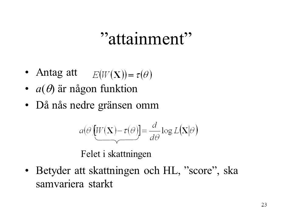 attainment Antag att a() är någon funktion Då nås nedre gränsen omm