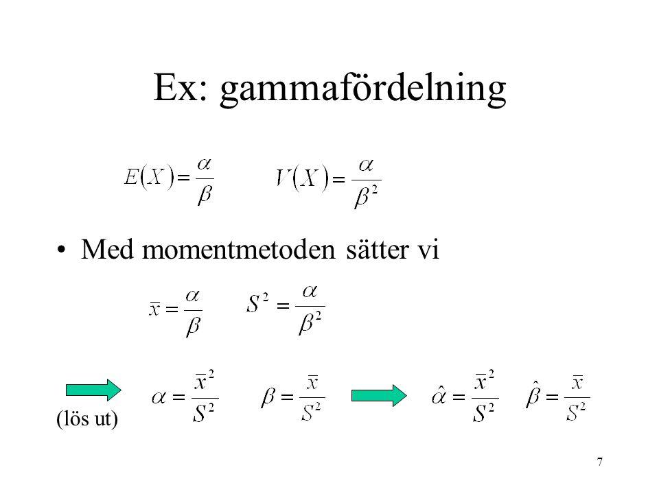 Ex: gammafördelning Med momentmetoden sätter vi (lös ut)
