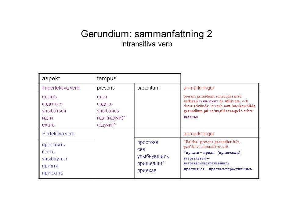 Gerundium: sammanfattning 2 intransitiva verb