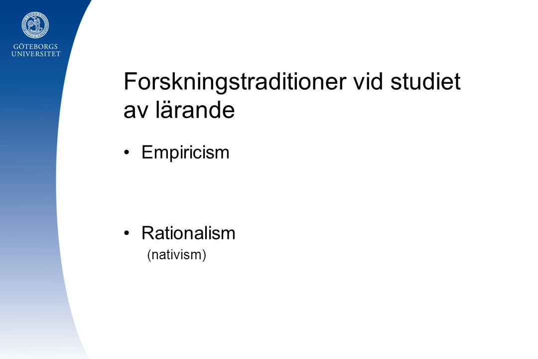 Forskningstraditioner vid studiet av lärande