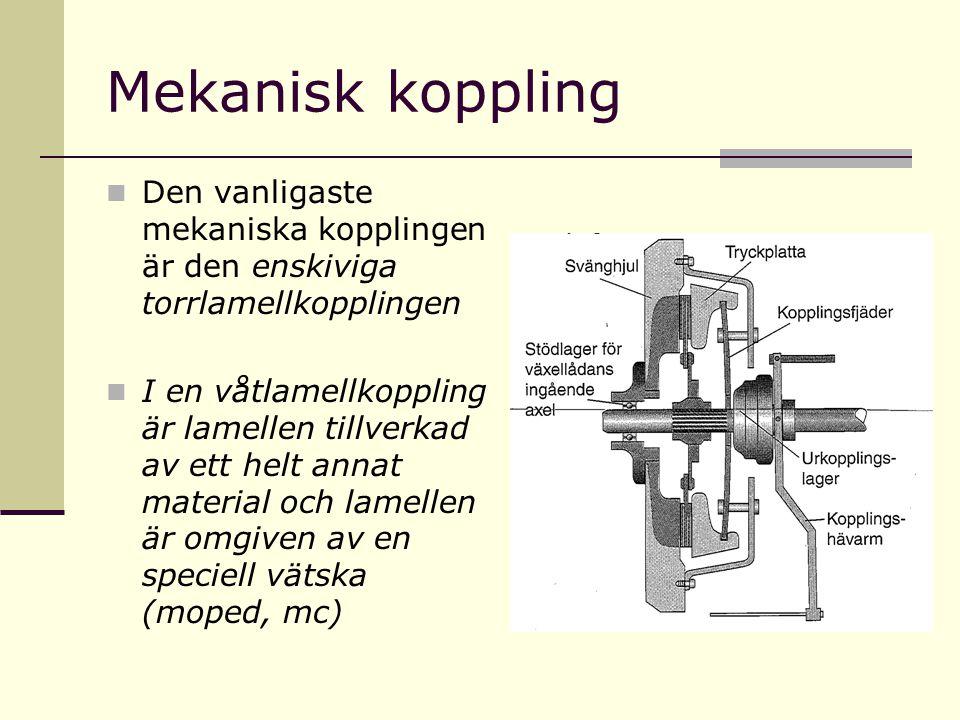 Mekanisk koppling Den vanligaste mekaniska kopplingen är den enskiviga torrlamellkopplingen.
