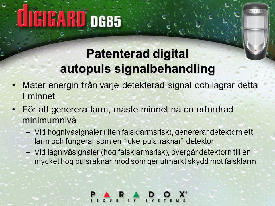 Patenterad digital autopuls signalbehandling