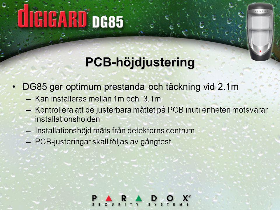 PCB-höjdjustering DG85 ger optimum prestanda och täckning vid 2.1m