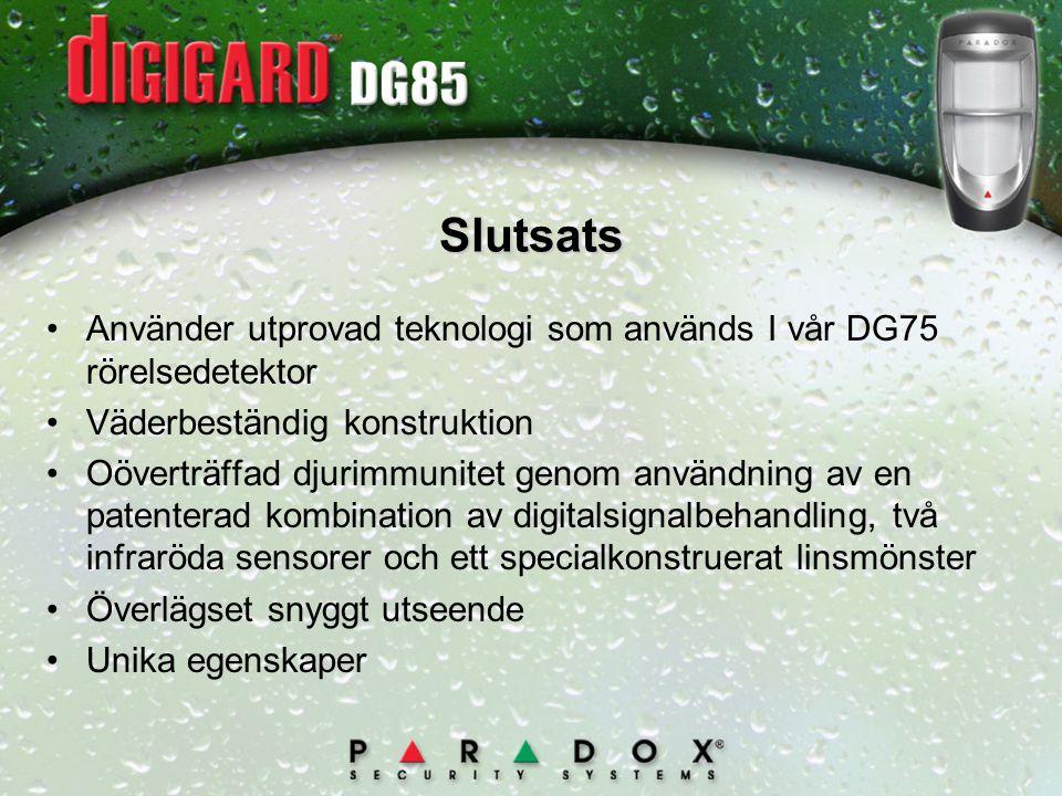 Slutsats Använder utprovad teknologi som används I vår DG75 rörelsedetektor. Väderbeständig konstruktion.