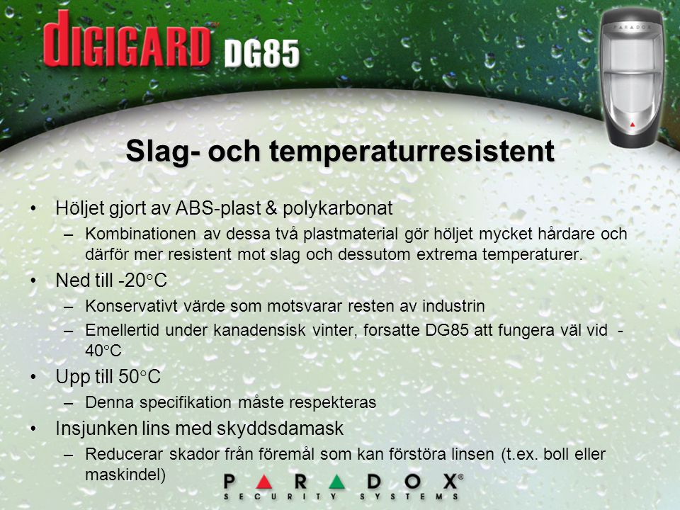 Slag- och temperaturresistent