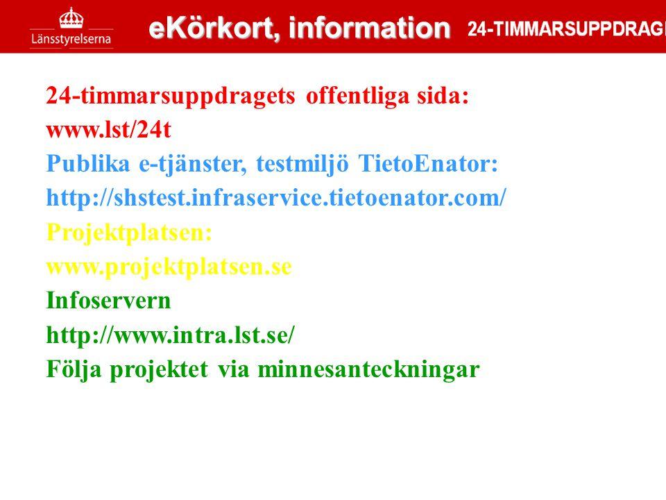 eKörkort, information 24-timmarsuppdragets offentliga sida: