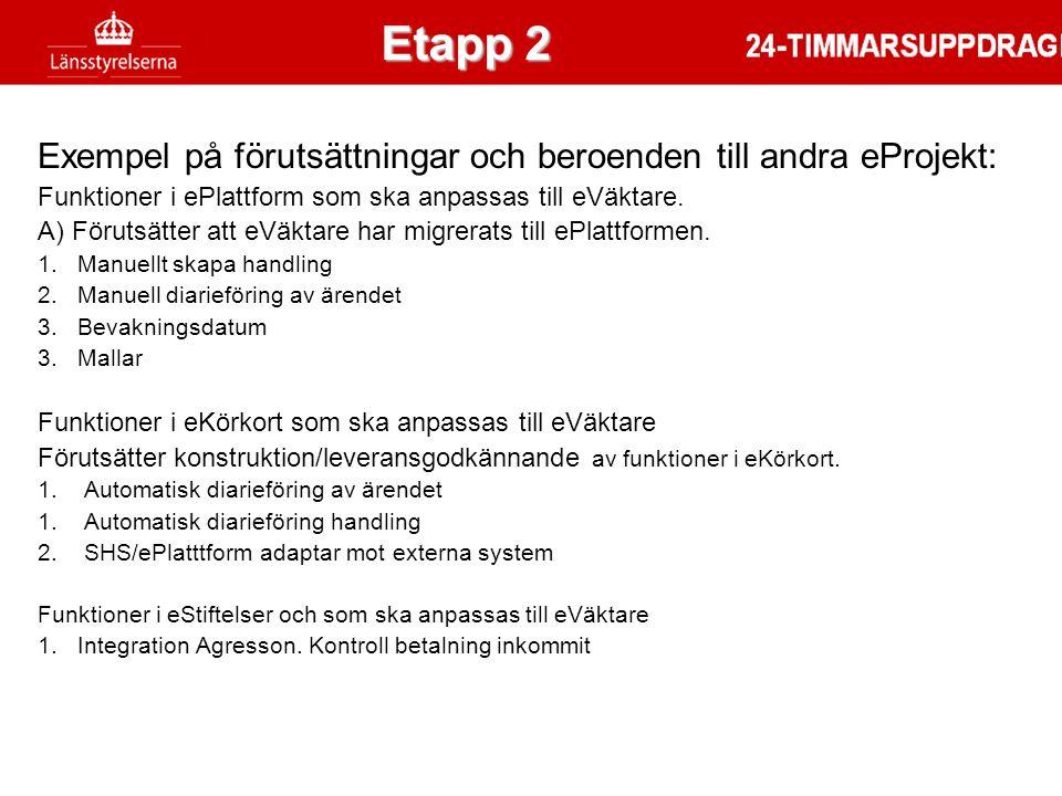 Etapp 2 Etapp 2. Exempel på förutsättningar och beroenden till andra eProjekt: Funktioner i ePlattform som ska anpassas till eVäktare.