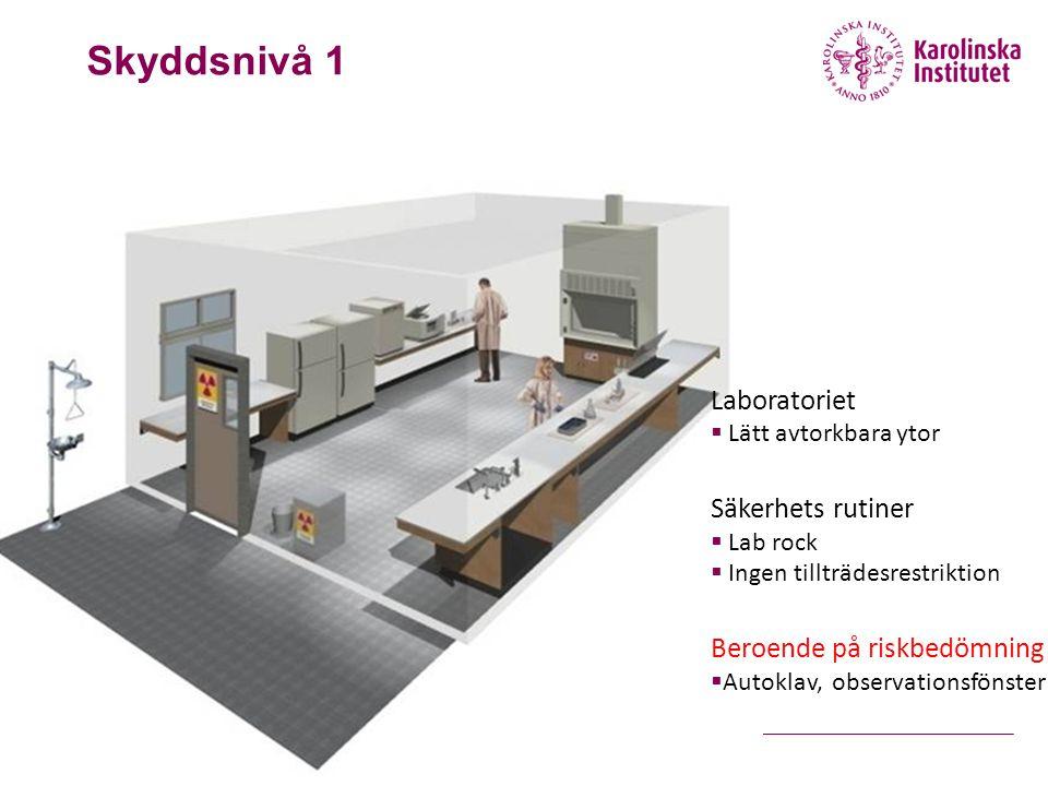 Skyddsnivå 1 Laboratoriet Säkerhets rutiner Beroende på riskbedömning