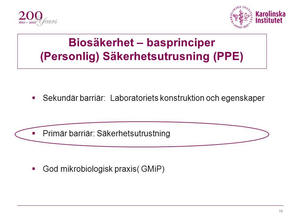 Biosäkerhet – basprinciper (Personlig) Säkerhetsutrusning (PPE)