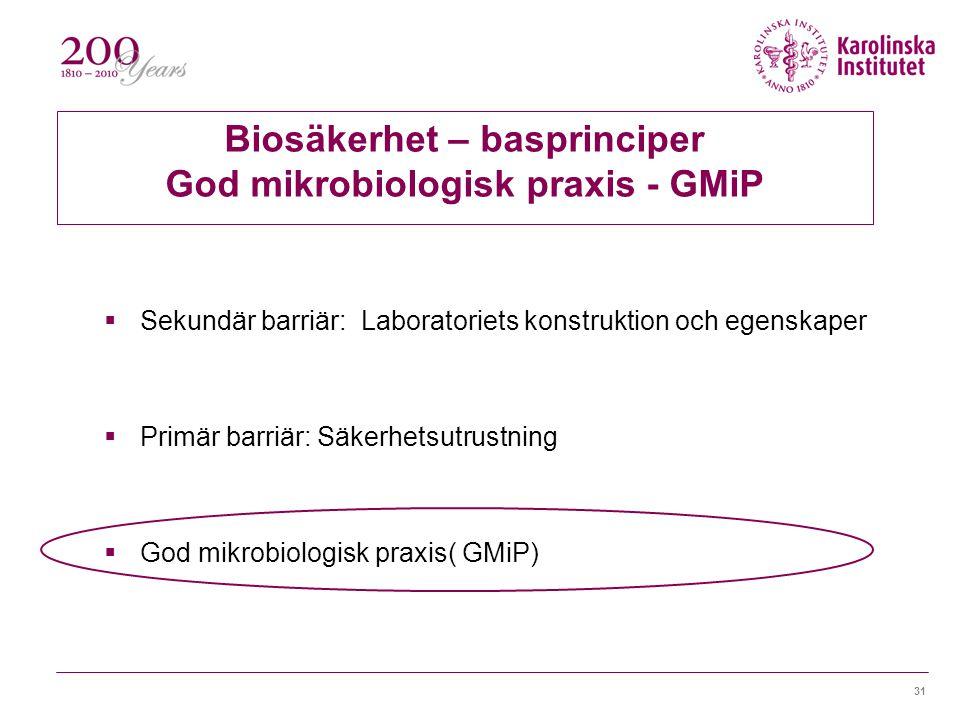 Biosäkerhet – basprinciper God mikrobiologisk praxis - GMiP
