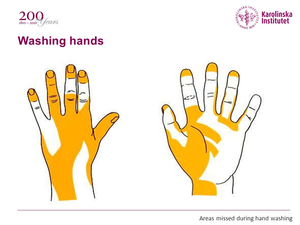 Washing hands Hand-washing should be preformed even when using gloves