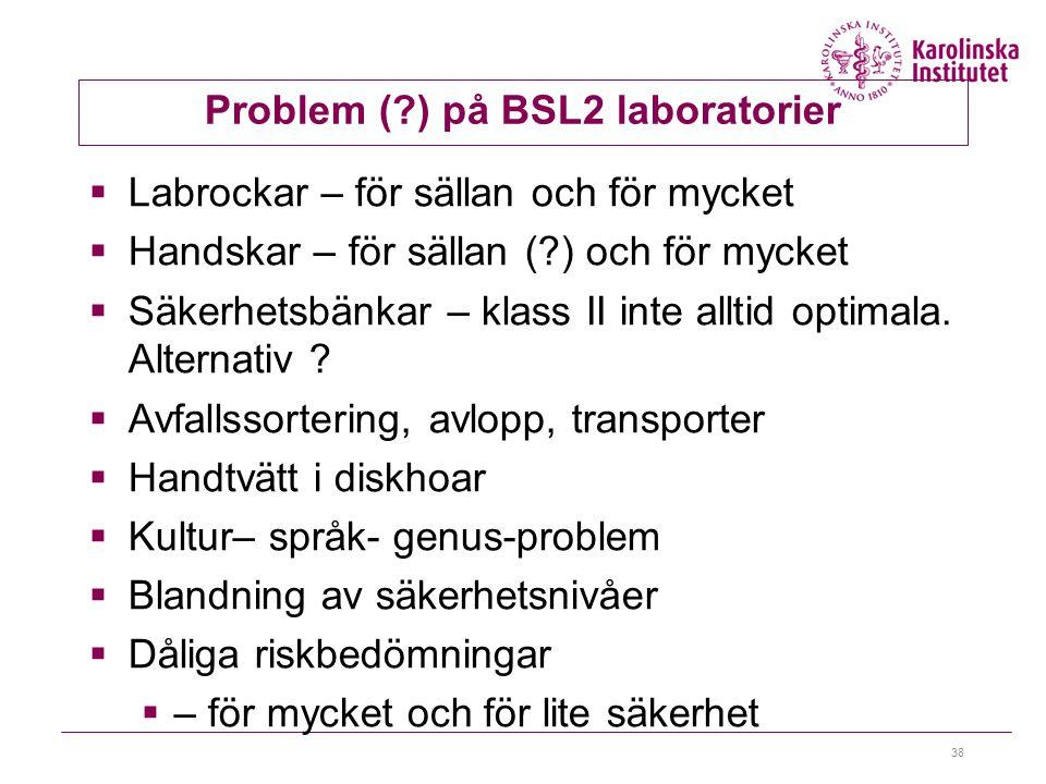 Problem ( ) på BSL2 laboratorier