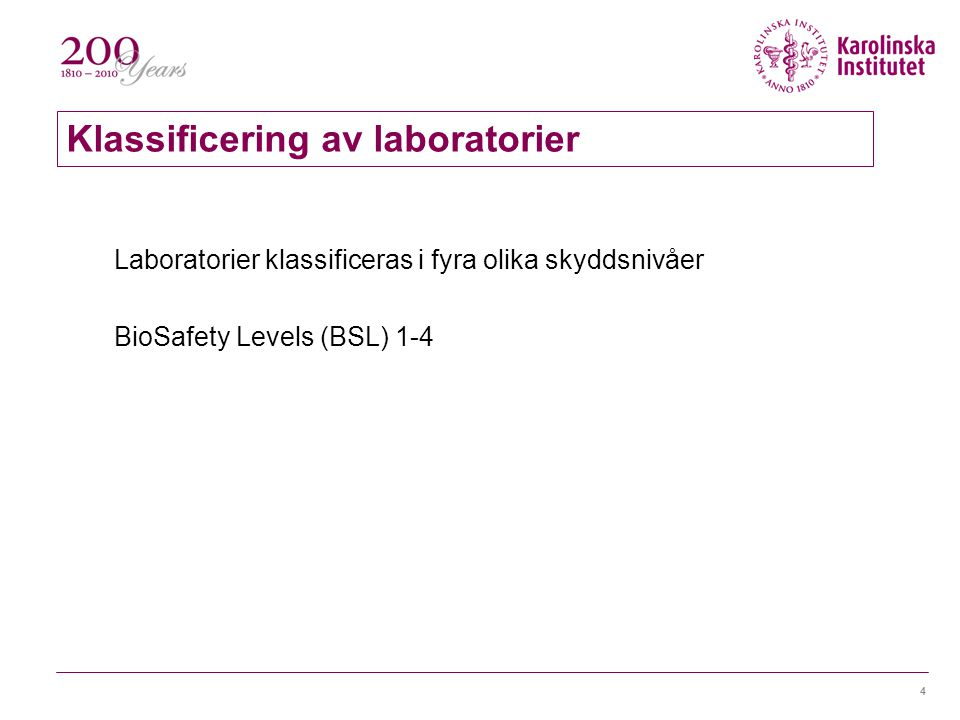 Klassificering av laboratorier