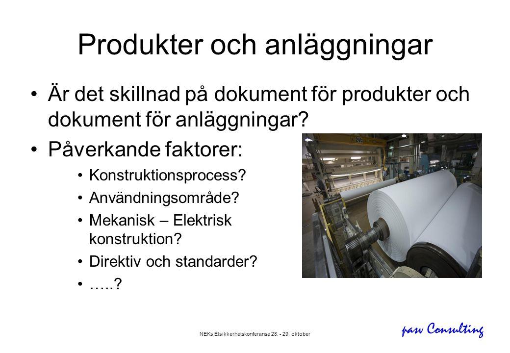 Produkter och anläggningar