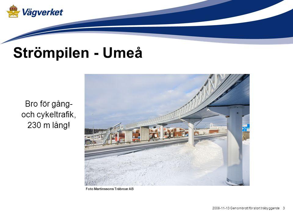 Strömpilen - Umeå Bro för gång- och cykeltrafik, 230 m lång!