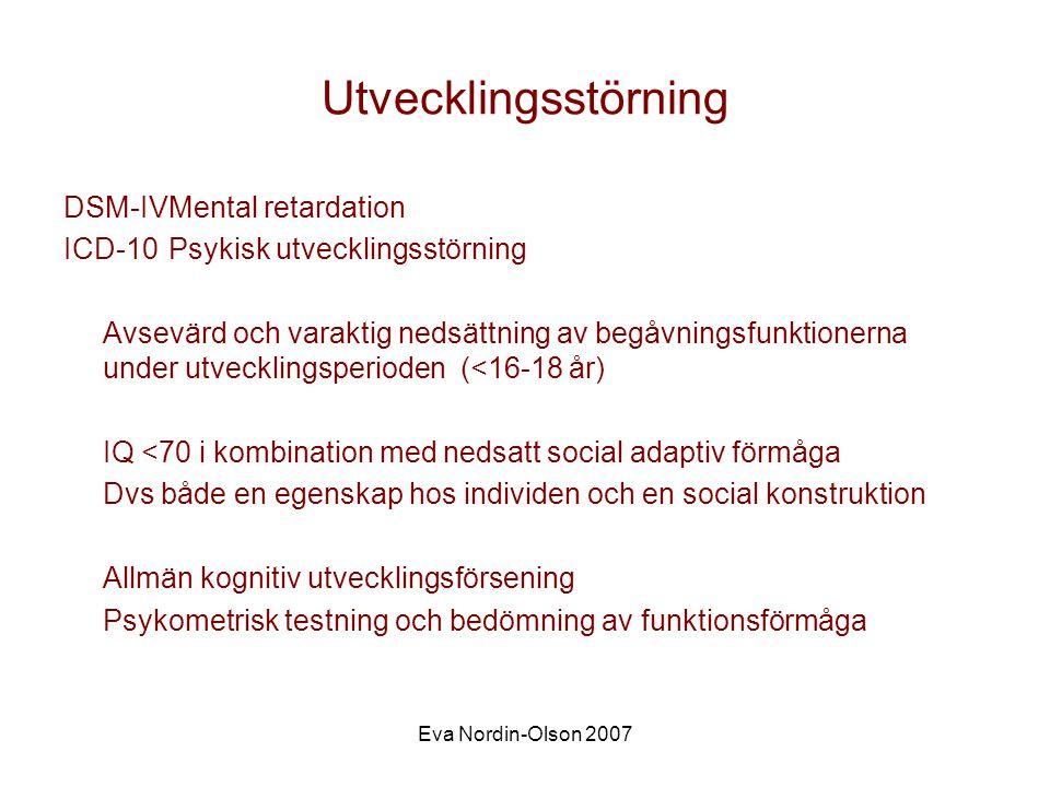 Utvecklingsstörning DSM-IV Mental retardation