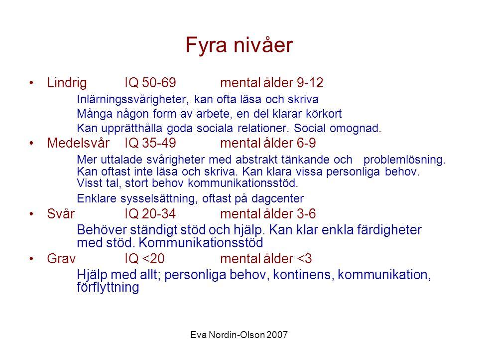 Fyra nivåer Lindrig IQ 50-69 mental ålder 9-12
