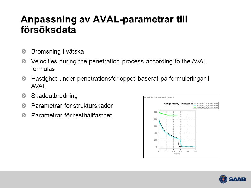 Anpassning av AVAL-parametrar till försöksdata