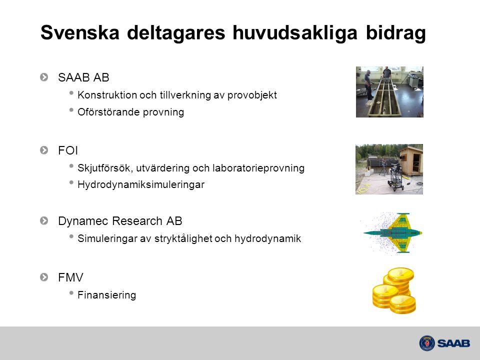 Svenska deltagares huvudsakliga bidrag