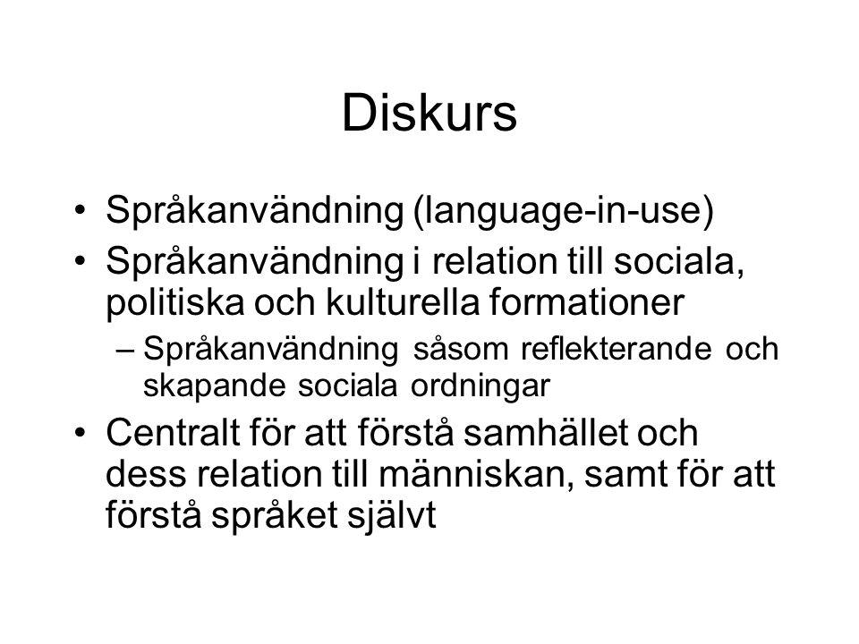 Diskurs Språkanvändning (language-in-use)