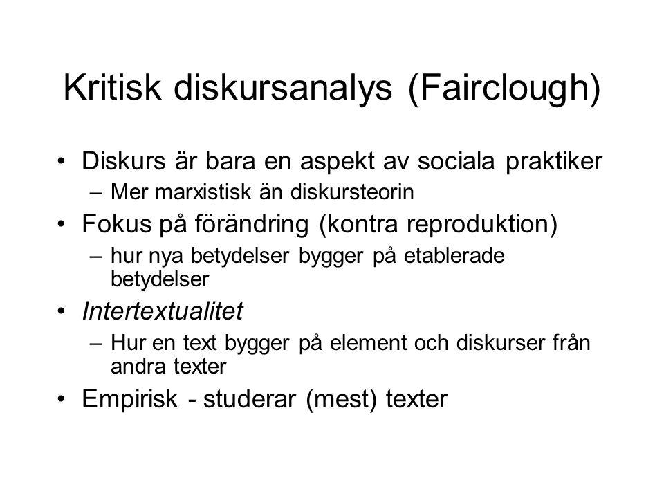 Kritisk diskursanalys (Fairclough)