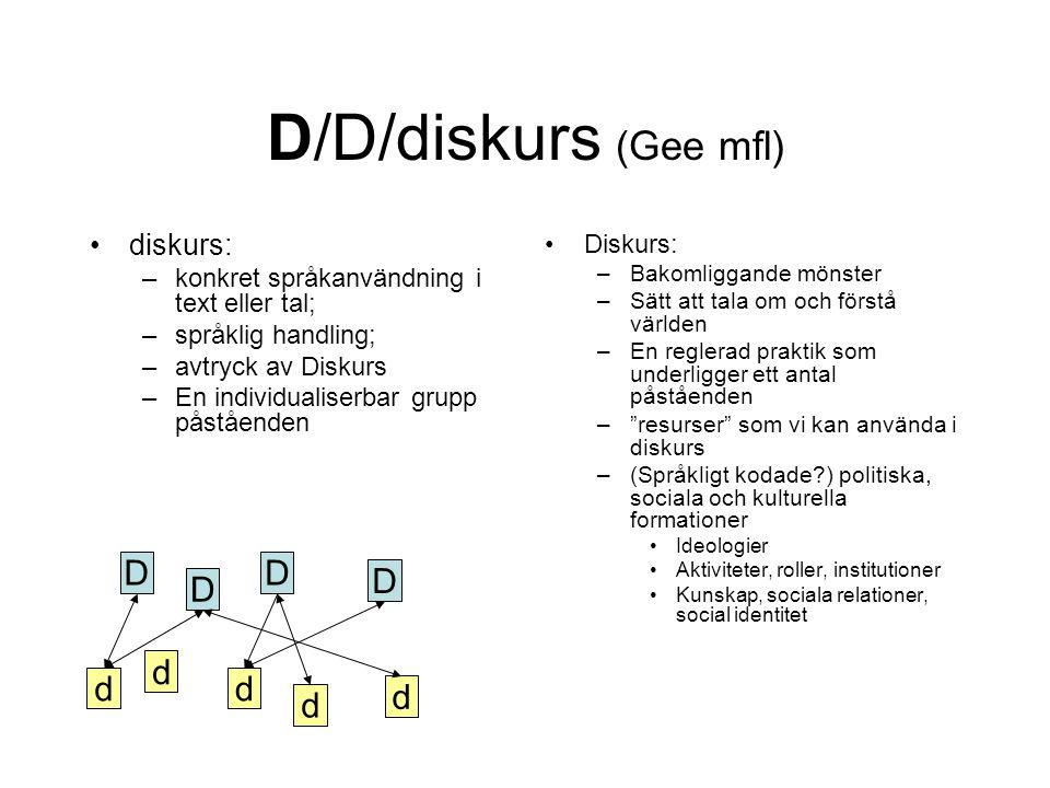 D/D/diskurs (Gee mfl) D D D D d d d d d diskurs: Diskurs: