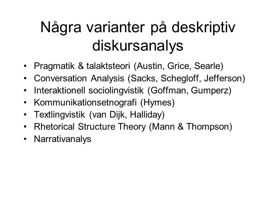 Några varianter på deskriptiv diskursanalys