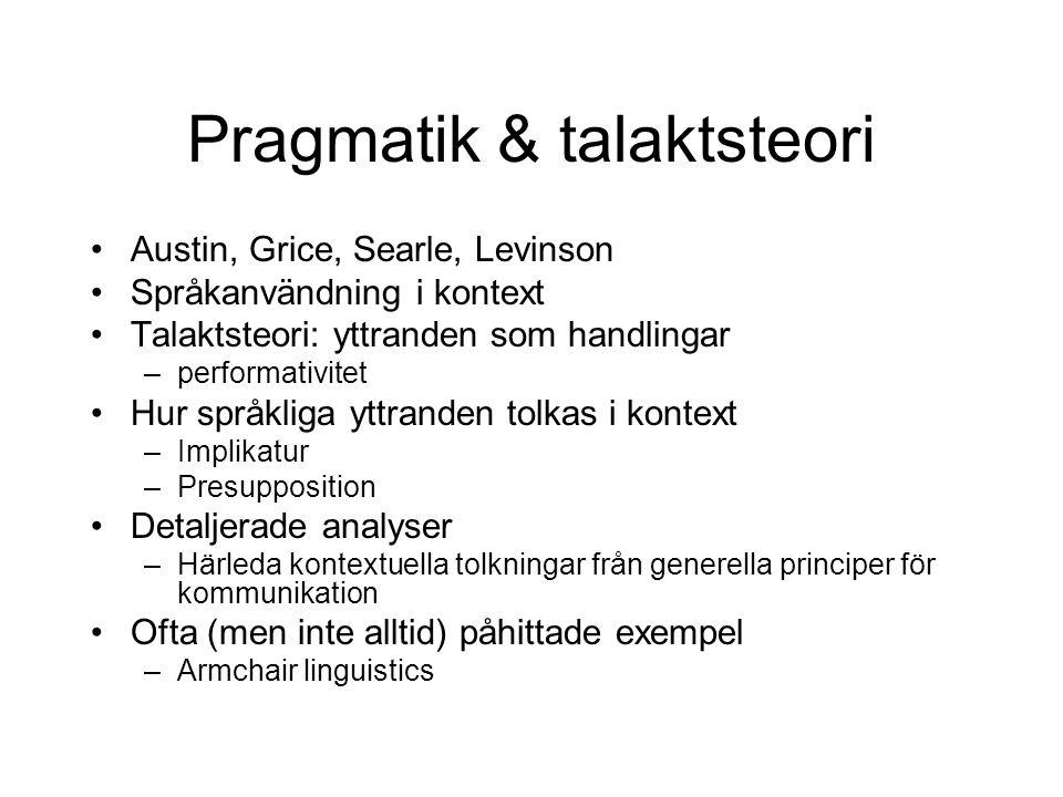 Pragmatik & talaktsteori