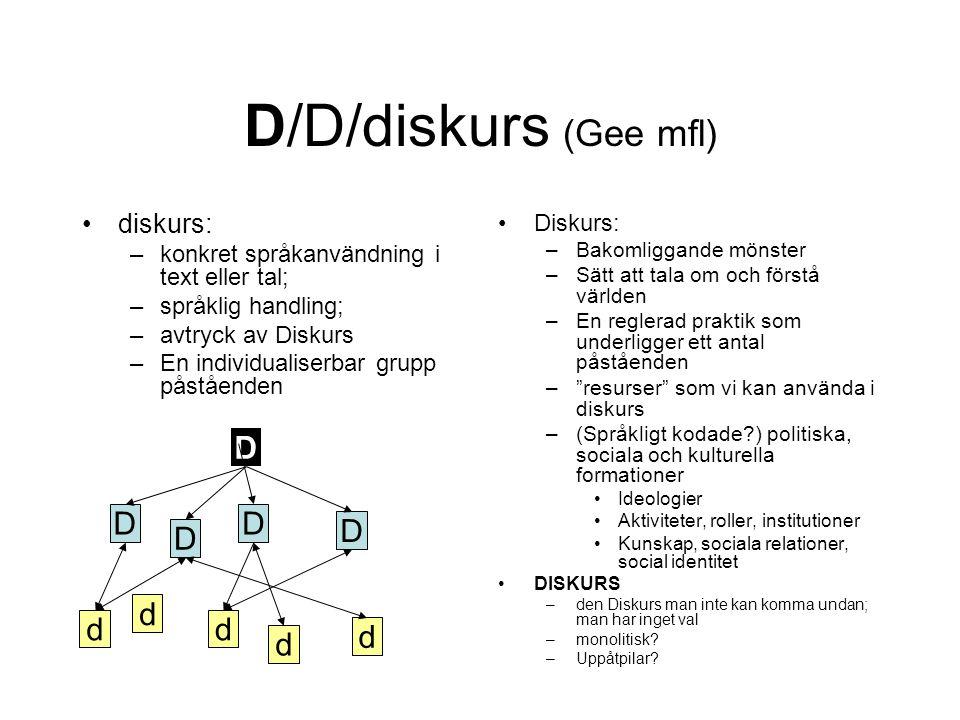 D/D/diskurs (Gee mfl) D D D D D d d d d d diskurs: Diskurs: