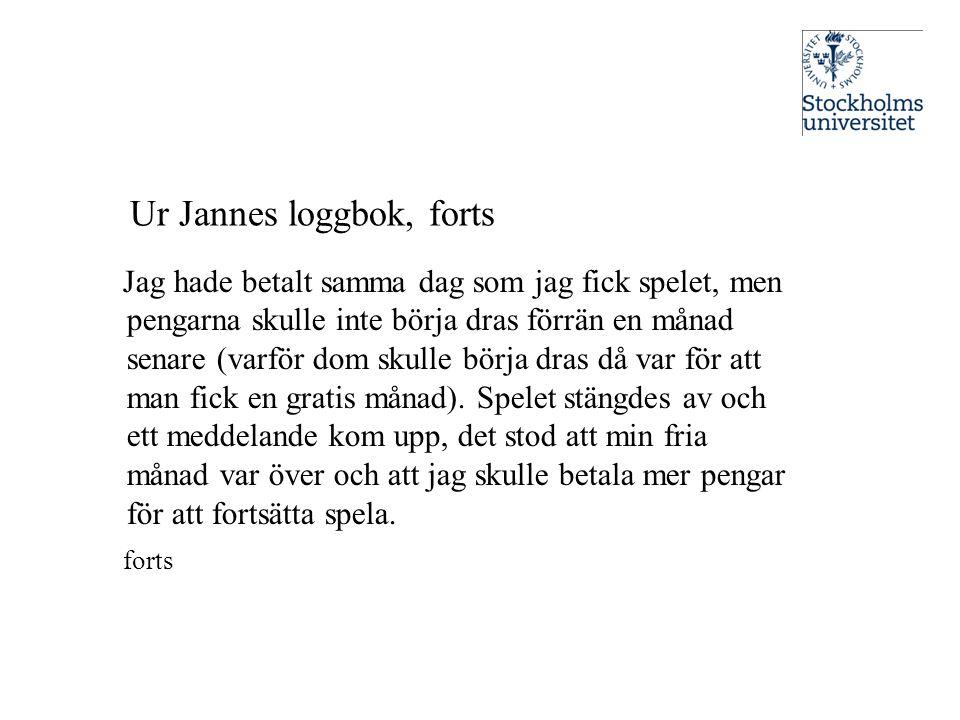 Ur Jannes loggbok, forts