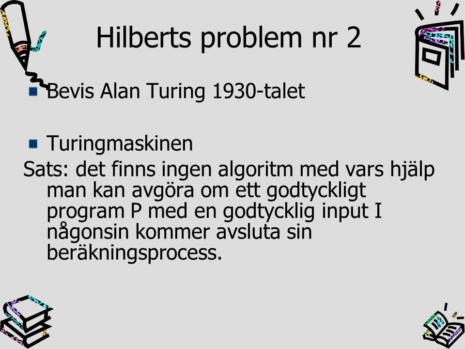 Hilberts problem nr 2 Bevis Alan Turing 1930-talet Turingmaskinen