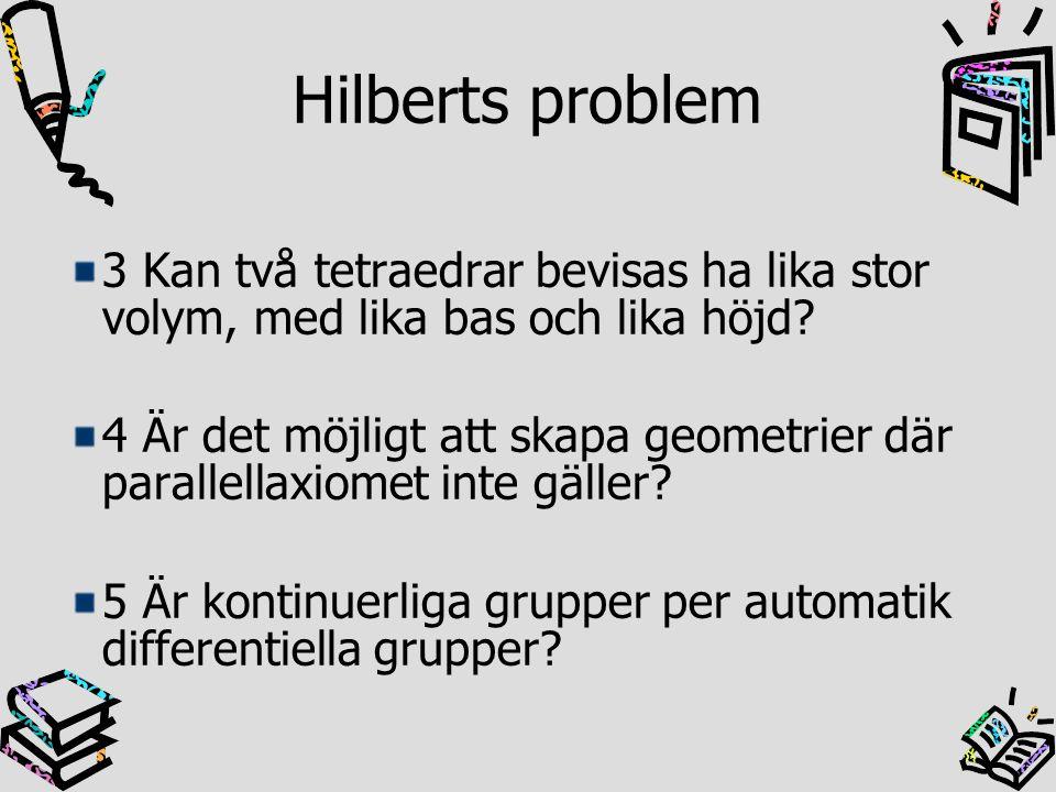 Hilberts problem 3 Kan två tetraedrar bevisas ha lika stor volym, med lika bas och lika höjd