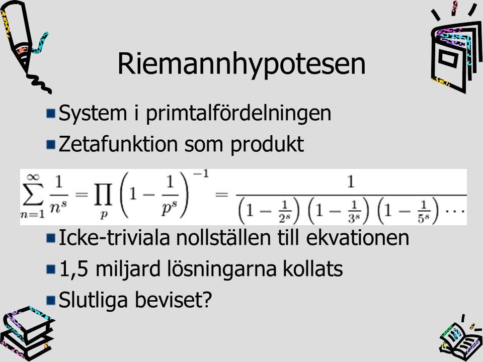 Riemannhypotesen System i primtalfördelningen Zetafunktion som produkt
